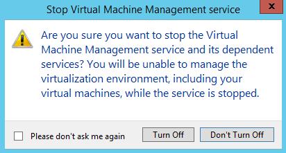 Stop VMM service warning